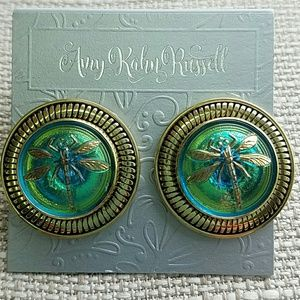 Amy kahn russell Jewelry - DRAGON FLY BUTTON EARRINGS